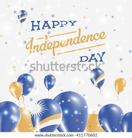 Marshall Islands Independence Day Patriotic Design. Balloons in Marshallese National Colors. Happy Independence Day Marshall Islands Vector Greeting Card.
