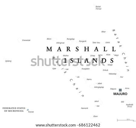 Marshall Islands Political Map Capital Majuro Stock Vector 686122462 ...