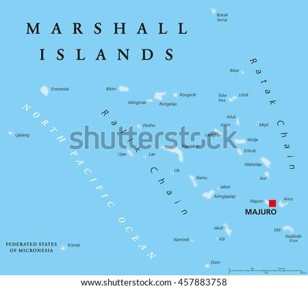 Marshall Islands Political Map Capital Majuro Stock Vector HD