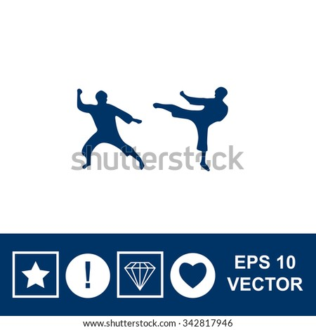 Martial art silhouette vector icon. - stock vector