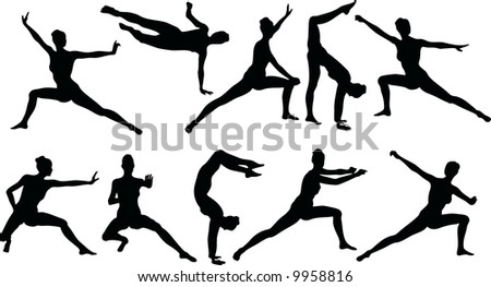 Martial Art Silouettes - stock vector