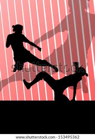 Martial arts active women self defense fighters silhouettes illustration background vector - stock vector