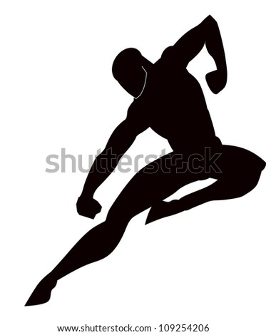 Martial Arts, Black Silhouette of a Man, Punching and Kicking, vector illustration - stock vector