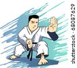 Martial arts - KARATE Power Strike Detailed Vector illustration - stock photo