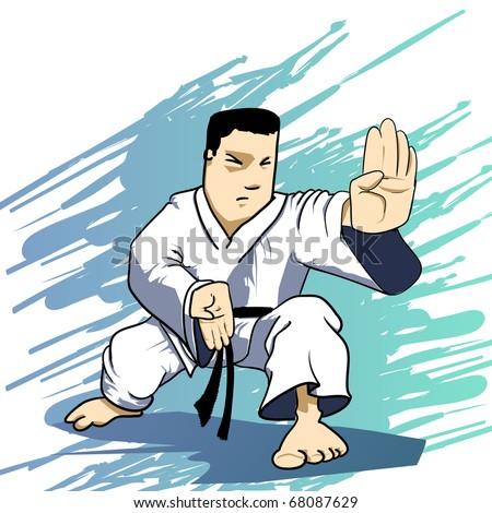 Martial arts - KARATE Power Strike Detailed Vector illustration - stock vector
