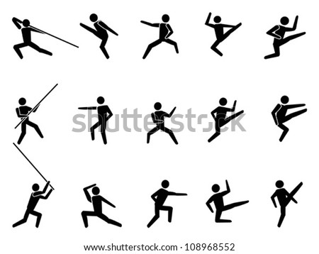 martial arts symbol people icons - stock vector