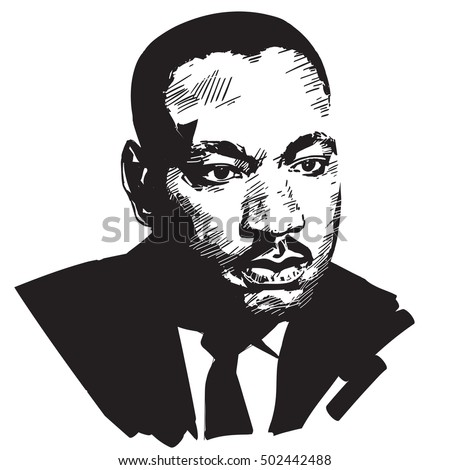 Black and white hand drawn vector portrait