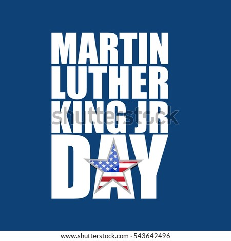 Martin Luther King JR day sign blue background illustration