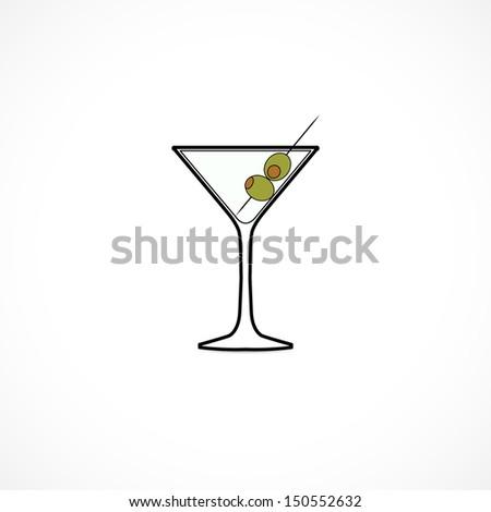 martini glass, icon - stock vector