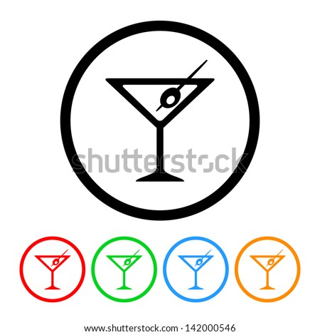 Martini Glass Icon in Vector Format with Four Color Variations - stock vector