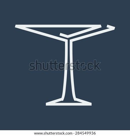 Martini Glass or for Cocktail From the Lines.Vector illustration - stock vector