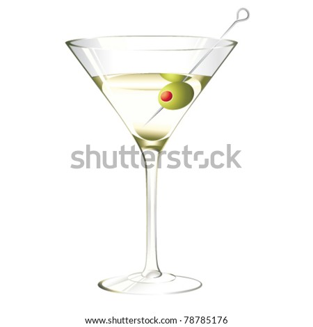 Martini glass with olive isolated  on white - stock vector