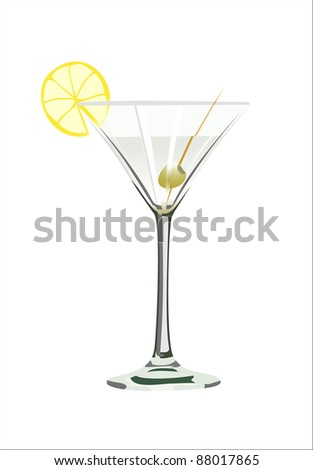 Martini glass with olive isolated on white