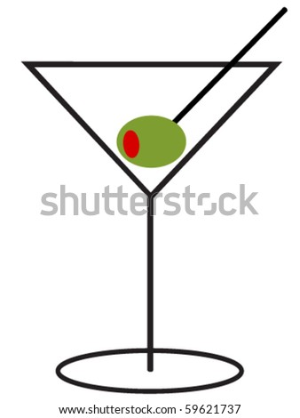 Martini with Olive - stock vector