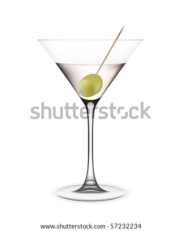 Martini with olive. Vector illustration - stock vector