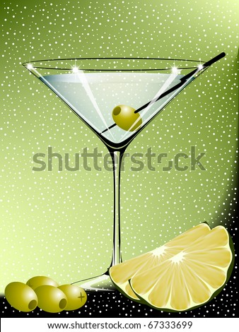 Martini with olives and lime - stock vector