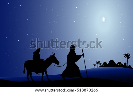 Mary and Joseph Christmas Illustration