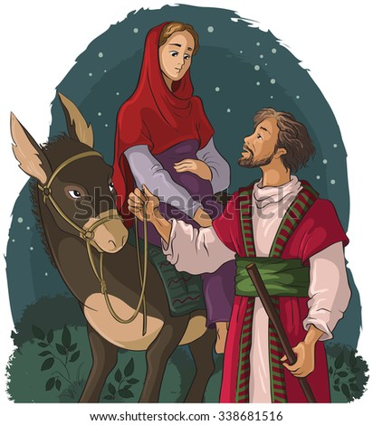 Mary and Joseph travelling by donkey to Bethlehem. Nativity story. Also available outlined version - stock vector