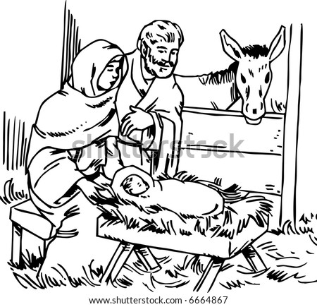 Mary and Joseph with a Small Jesus - stock vector