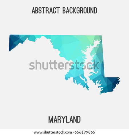 Maryland Map Geometric Polygonalmosaic Style Cold Stock Vector