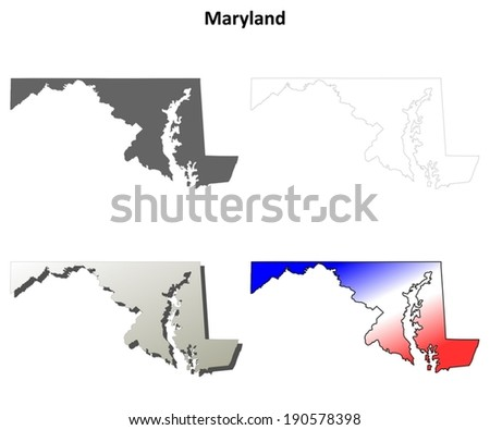 Maryland Outline Map Set Vector Version Stock Vector 190578398