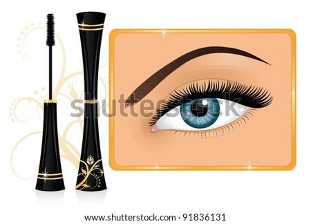 Mascara and a female eye with Bushy Eyebrow Clip Art