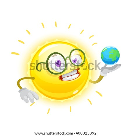 Mascot cartoon characters yellow sun holding a planet earth on white background - stock vector