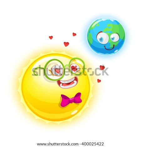 Mascot cartoon characters yellow sun in love with the planet earth on white background - stock vector