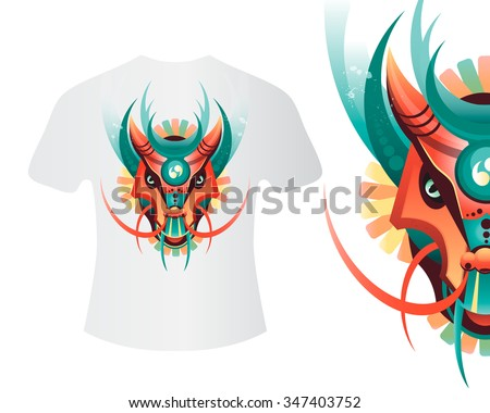 Mascot dragon for printing on shirts and other items. Highly detailed abstract ornate geometric dragon vector illustration. Tattoo design, poster, print, T-shirt, greeting card. Vector illustration  - stock vector