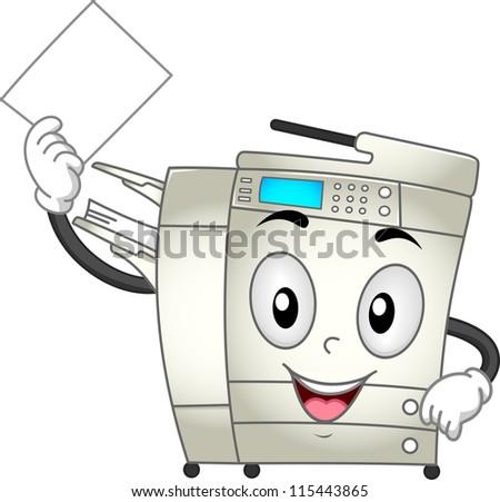 mascot illustration featuring copier making copies stock vector