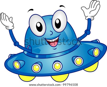 Mascot Illustration Featuring a Spaceship with its Arms Raised