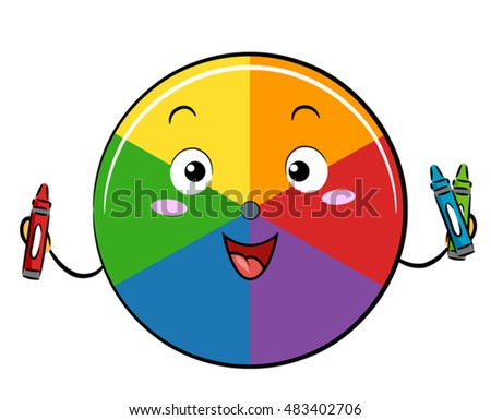 Mascot Illustration Of A Color Wheel Holding Red Blue And Green Crayons
