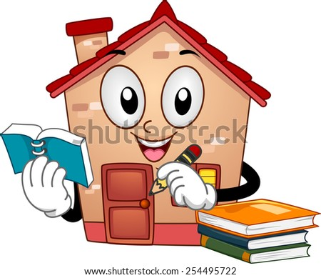 Mascot Illustration of a House Holding a Notebook and a Pencil - stock vector