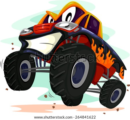 Mascot Illustration of a Monster Truck Revving Furiously - stock vector
