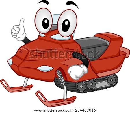 Mascot Illustration of a Snow Mobile Giving a Thumbs Up