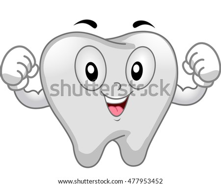 Mascot Illustration of a Tooth Flexing its Muscles