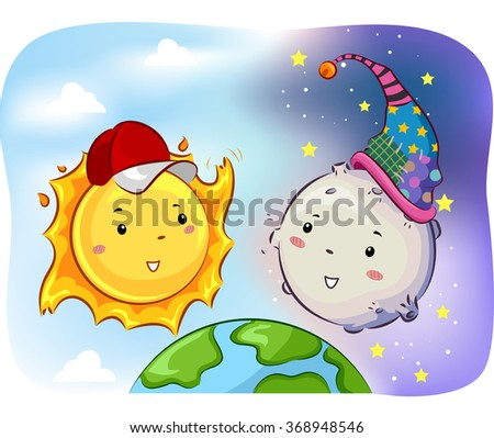 Mascot Illustration of Sun and Moon facing each other - stock vector
