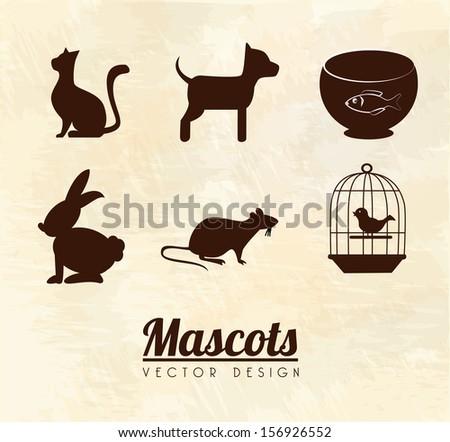 mascots design over pink background vector illustration - stock vector