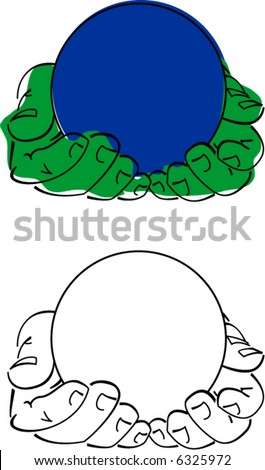 Masculine hands holding a sphere. - stock vector