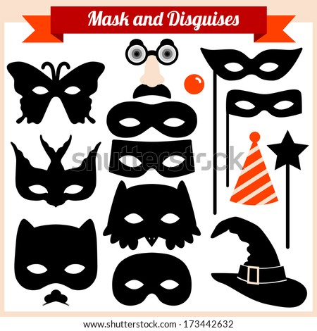 Mask and disguises - stock vector