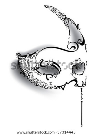 Mask from letters - stock vector