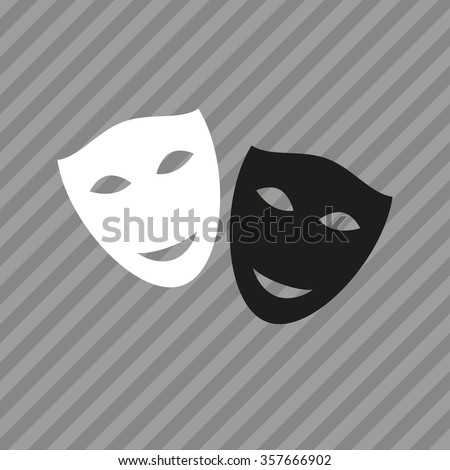 Mask icon. Theater symbol. Black and white theatrical masks. Carnival masks. Vector illustration. - stock vector