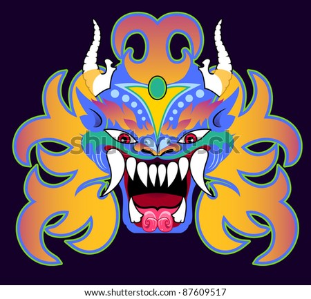 mask in the style of a Tibetan Dharmapala - stock vector
