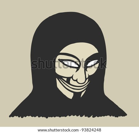 Masked man, protesting painted theme - stock vector