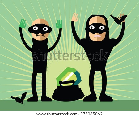 Masked robbers steal diamond - bad guys with guns and hand up. Funny childlike burglars with handbag and brilliant. Bandit giving up captured on 	the scene of the crime. Green sunburst background. - stock vector