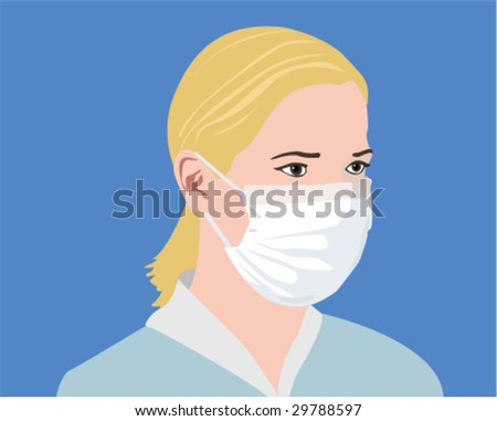 Masked Woman. Vector Illustration - stock vector