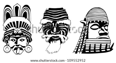 Masks, Aztec, Japanese and African, vector illustration, easy to edit layers - stock vector