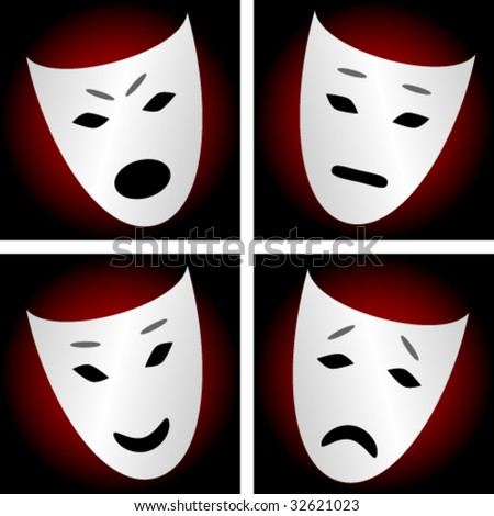 Masks Depicting Emotions Angry Sad Neutral Stock Vector ...