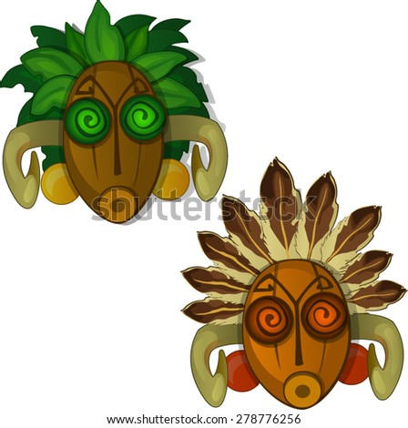 masks from plants - stock vector