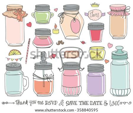 Mason Jars Set Weddingromantic Hand Drawing Doodle Stock Vector